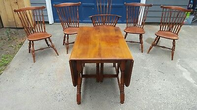 Heywood Wakefield Dropleaf Table 5 Windsor Chairs antique maple