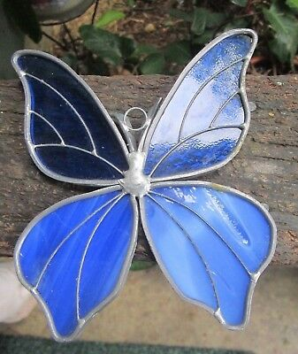 """Vintage Stained Glass Sun Catchers Blue Butterfly 5x4.25"""""""