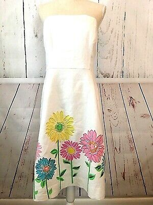 6a32fad749942 New Lilly Pulitzer White Linen Strapless Party Dress Embroidery Bead  Flowers 10