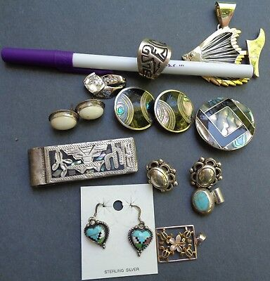 Estate Lot 925 Silver  Native  American Ring  Brooch   Turquoise Pendant Others