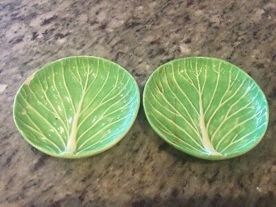 Pair NO RES Dodie Thayer Lettuce Leaf Ware Porcelain Butter Salt dishes As Is