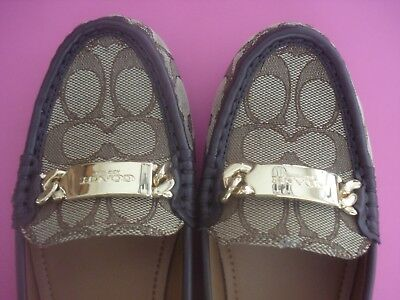 Authentic Coach Loafers Shoes Iconic C Logo Brown 6 New