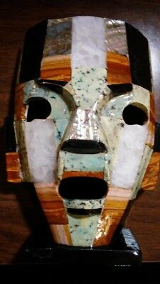 "Unique Collectible ""NEW"" Mexican Stone Death Mask of multi-stone colors Handmade"