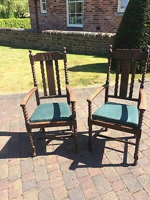 Antique oak carver dining chairs
