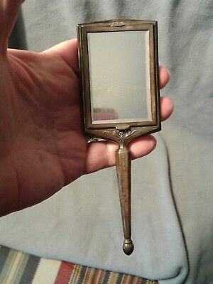 Antique Sterling Hand Held Mirror w/ Powder Compact