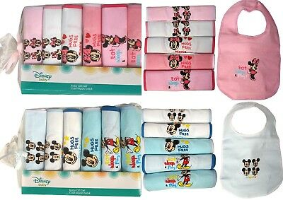 Baby Boys Girls Disney Mickey Minnie Mouse 6 Piece Pack Bibs Feeding Gift Cotton