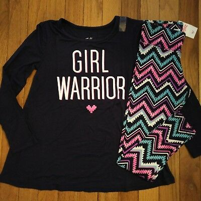 NWT Justice Girls Outfit Girl Warrior Top/Leggings Size 6 7