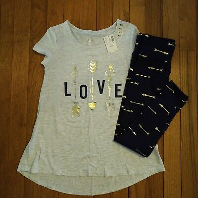 NWT Justice Girls Outfit Love Arrow Top/Leggings Size 6 7 8 10 12
