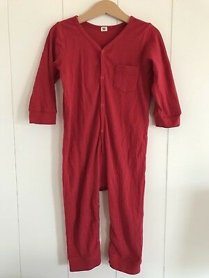 Goat-Milk Red Union Suit Ribbed Crimson Size 3 Years