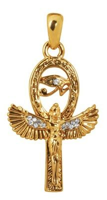 Isis Egyptian Winged Goddess Ankh Shaped Gold Tone Rhinestone Costume Necklace