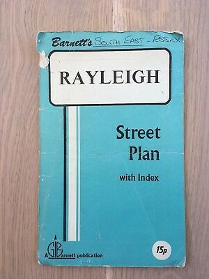 Vintage Map Street Plan - Rayleigh, Essex 1970s Heavy Signs of Use
