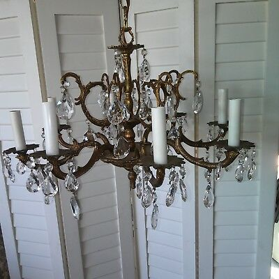 Shabby Chic vintage brass and glass crystal chandelier 8 candle stick lighting