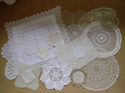 Job Lot of 19 Vintage Doilies/Mat. Crocheting Lace. Embroidery. White/Cream.