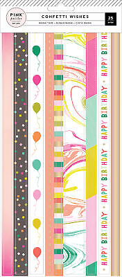 Confetti Wishes Washi Sticker Sheets 3/Pkg-Strips W/Gold Foil - 3 Pack