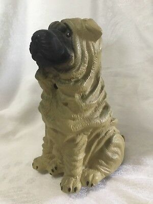 Vintage Barking Chinese Shar Pei Motion Activated Watch Dog Toy Figurine Statue