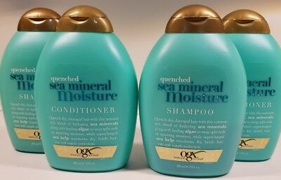 OGX Organix Quenched Sea Mineral Moisture Shampoo&Conditioner 13 oz each~2 sets