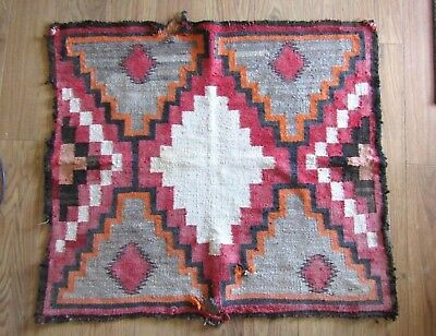 Antique Navajo Wool Saddle Blanket Colorful As Is  Circa 1925