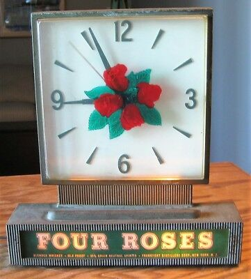 Vintage lighted Four Roses whiskey back bar clock liquor sign advertising, works