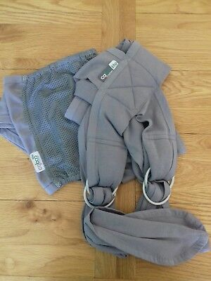 Close Caboo lite baby carrier sling grey. From new born to toddler.
