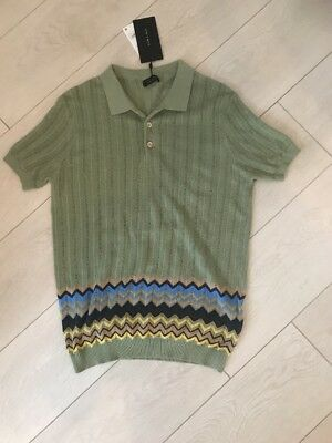 Mens Green Zara Knit Short Sleeve Top Bnwt Mex 40 Must C Sold Out Missoni Style