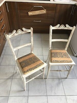 Pair Of French Louis Chairs Dining Shabby Chic Bedroom Antique Dressing