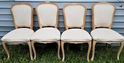 (4) Harris Marcus Louis XV Country French Provincial Carved Dining Chairs Italy