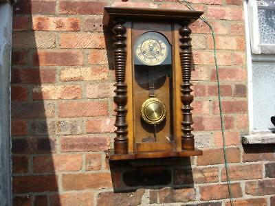 Antique Clock Part Vintage Clock Case Inside vienna  Movement , Pendulum & Key