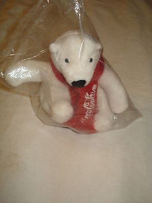 COCA COLA white POLAR TEDDY BEAR W/ RED SCARF plush stuffed animal toy