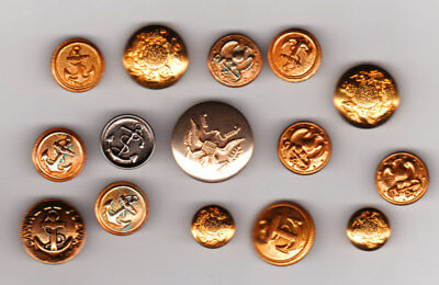 15 MIX LOT of METAL MILITARY AND HERALDRY 2-PIECE BUTTONS
