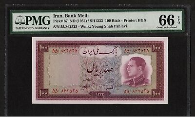 Middle East  BANKNOTE 100 RIALS M.REZA SHAH 1954, Pick 67 UNC PMG 66 EPQ