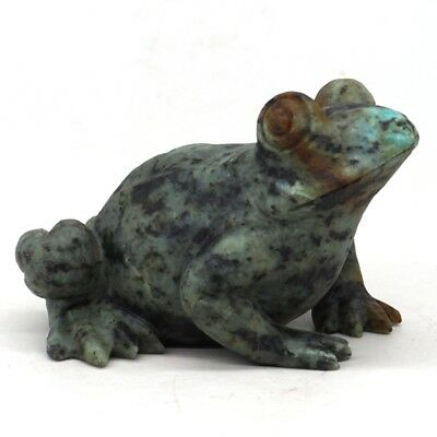 "3.5"" Natural African Turquoise Hand-Carved Stone Frog Statue Home Decor #AT120"