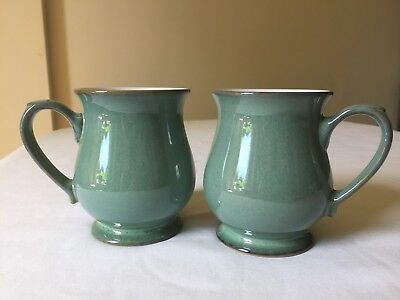 DENBY Two Craftsman Mugs Regency Green 10.5cm Tall Half Pint Excellent Condition