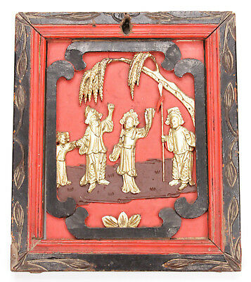 Antique Chinese Qing Carved Wood Panel Gold Gilt Man Women Child Temple China