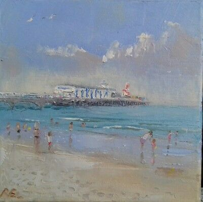 Bournemouth-holiday-seaside-oil on canvas-original painting-dorset-beach