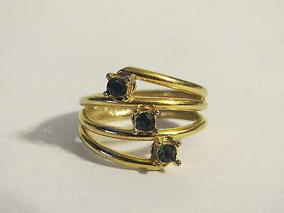 Fabulous 18k Yellow Gold Plate Faux 3-Stone Sapphire Ring Signed Cellini Size 5