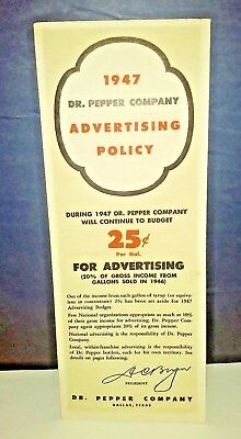 1947 Very Rare Dr Pepper Company Advertising Policy Booklet