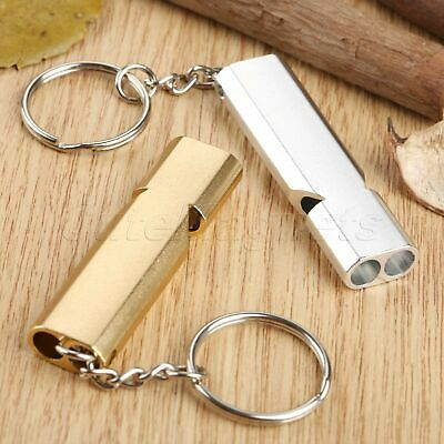 Outdoor Emergency Survival Safety Aluminium Whistle Keychain Keyring Gold/Silver