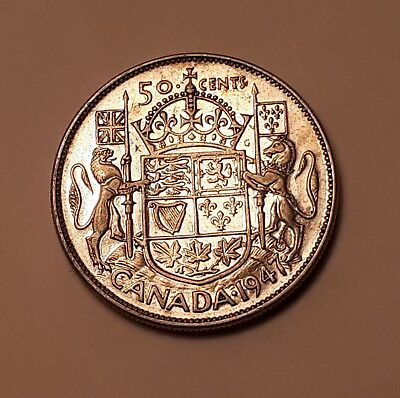 """1947 Canada 50 Cents Coin (80% Silver) - King George VI  """"Curved 7"""""""