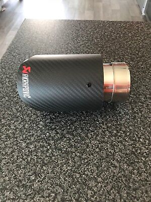 Carbon Fiber S/Steel Akrapovic Style Exhaust Tip 63MM IN-89MM OUT Universal Fit