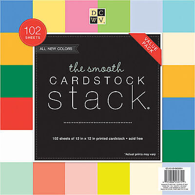 "DCWV Single-Sided Cardstock Stack 12""X12"" 102/Pkg-Smooth Solid"