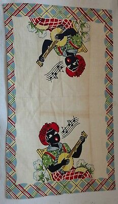 Vintage Black Americana Tea Towel boy with banjo
