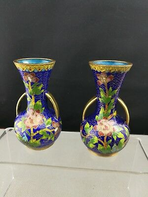 Pair of Impressive 20th Antique Old Chinese Cloisonne Vase - very heavy