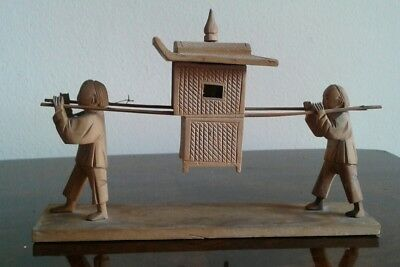 Antique Vintage Chinese Hand Carved Wooden Figures With Sedan Chair Hand Carved