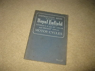 Royal Enfield Motorcycle Instruction Book - Ensign I II III and Prince