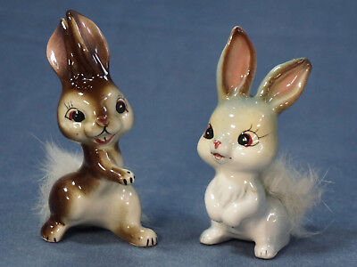Vintage China Rabbit Pair FINE QUALITY Japan EXCELLENT Real Fur Tail 3.5""