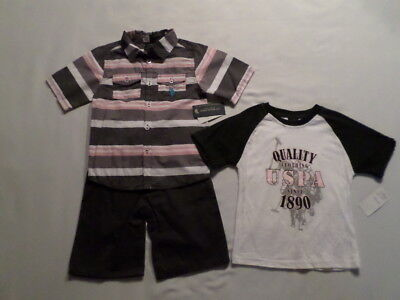 *NWT* Boys US Polo Assn 3pc Outfit *sz 5* Button-Front, Khaki Shorts & T-Shirt