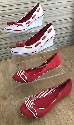 2 Pairs! Lovely Red & White Canvas Bundle. Size 5 (38)