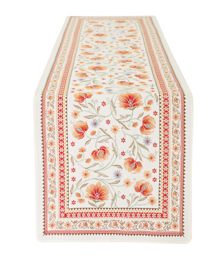 Jacquard Woven Table Runner Sillans Flowers Ecru Red Made In France 66 X 19