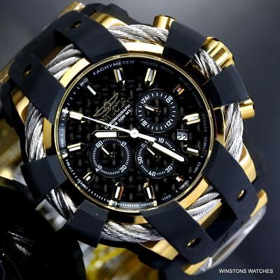 Invicta Bolt Sport Chronograph Black Carbon Fiber Gold Plated 50mm Watch New