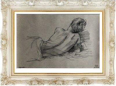 female nude 23X original sketch charcoal art naked woman signed nu dessin